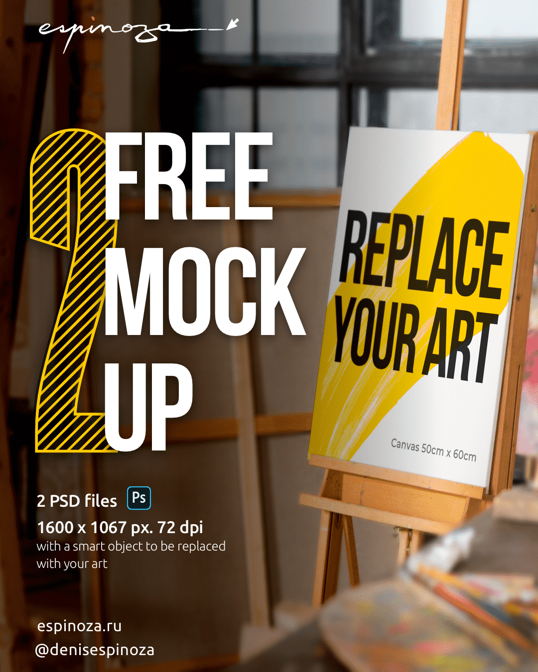 FREE Canvas Realistic Studio Mock-Up